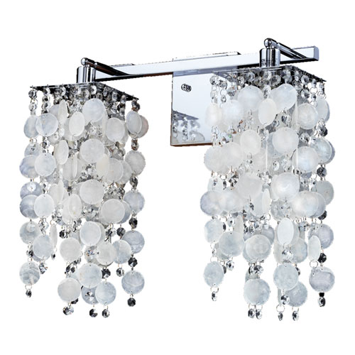 Cityscape Capiz Shell and Crystal Chrome Two-Light Wall Sconce