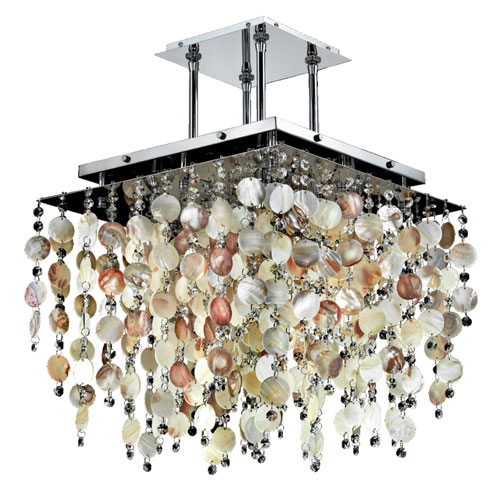 Cityscape Oyster Shell and Crystal Chrome 18-Inch Five-Light Chandelier