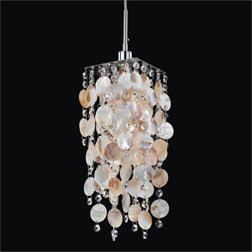 GLOW Lighting Cityscape Shell and Crystal One-Light Mini Pendant