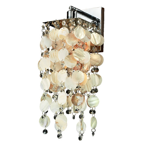 Cityscape Oyster Shell and Crystal Chrome One-Light Wall Sconce