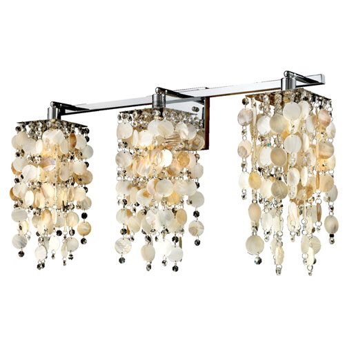 Glow Lighting Cityscape Oyster Shell And Crystal Chrome Three Light Wall Sconce