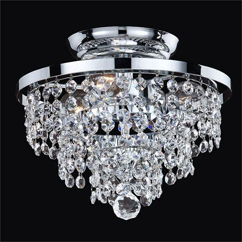 GLOW Lighting Vista Silver Pearl Three-Light Semi-Flush Mount with Signature Crystal