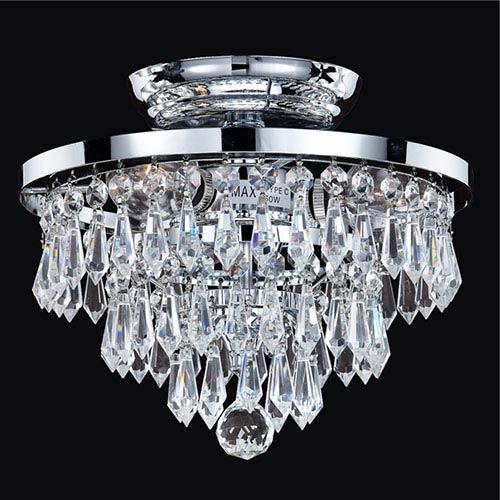 Vista Silver Pearl Three-Light Semi-Flush Mount with Signature Crystal