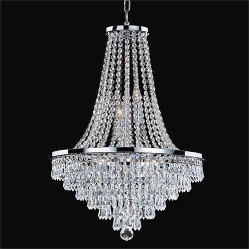 GLOW Lighting Vista Silver Pearl Nine-Light Chandelier with Signature Crystal