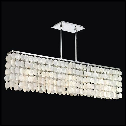 Surfside Capiz Shell Polished Chrome 37.5-Inch Width Five-Light Chandelier