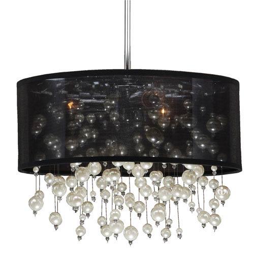 GLOW Lighting Champagne 18-Inch Black and Chrome Three-Light Pendant