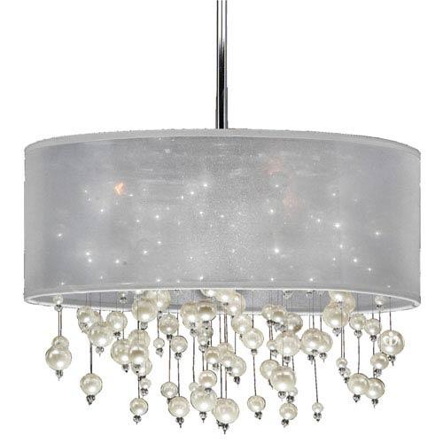 GLOW Lighting Champagne 18-Inch White and Chrome Three-Light Pendant