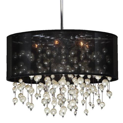 GLOW Lighting Champagne Black and Chrome Six-Light Pendant