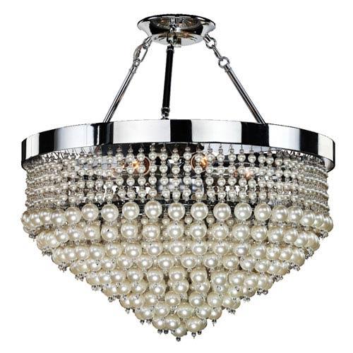 GLOW Lighting Vintages Chrome 23-Inch Six-Light Semi Flush Mount