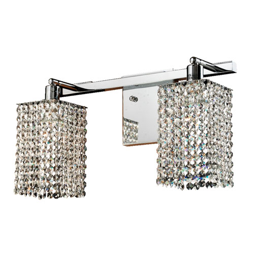 GLOW Lighting Fuzion X Square Singl Layer Crystal and Chrome Two-Light Wall Sconce