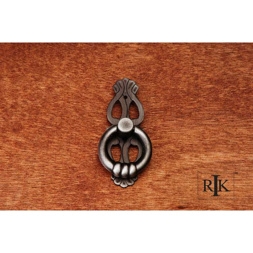 RK International Inc Distressed Nickel 1 Inch Ring with Ornate Plate