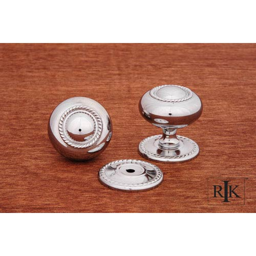 RK International Inc Chrome Rope Knob with Detachable Back Plate