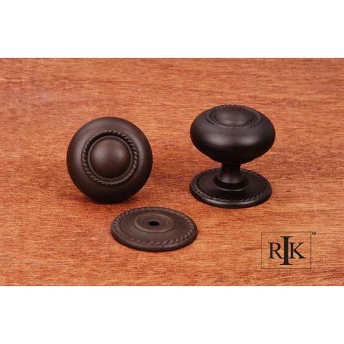 RK International Inc Oil Rubbed Bronze Rope Knob with Detachable Back Plate