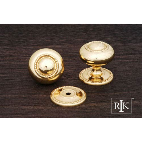 RK International Inc Polished Brass Rope Knob with Detachable Back Plate