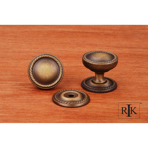 Antique English Flat Rope Knob with Detachable Back Plate