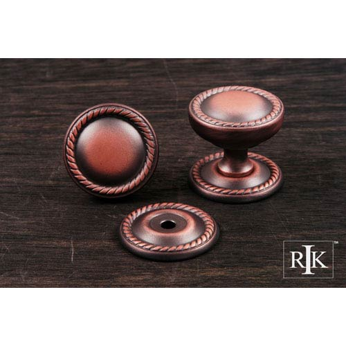 RK International Inc Distressed Copper Flat Rope Knob with Detachable Back Plate
