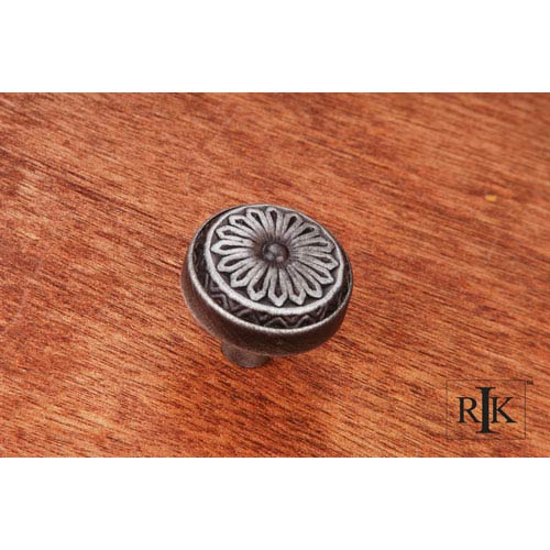 RK International Inc Distressed Nickel Flowery Ornate Knob