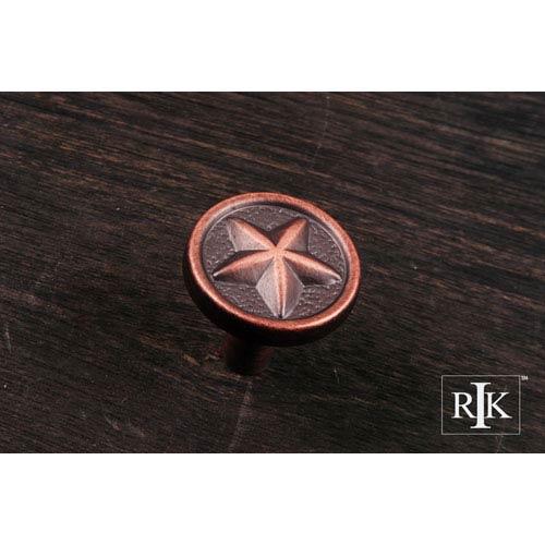 RK International Inc Distressed Copper Rugged Texas Star Knob