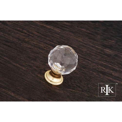 RK International Inc Polished Brass Acrylic Hammered Knob