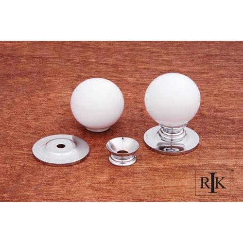 RK International Inc Chrome White Porcelain Chrome Knob