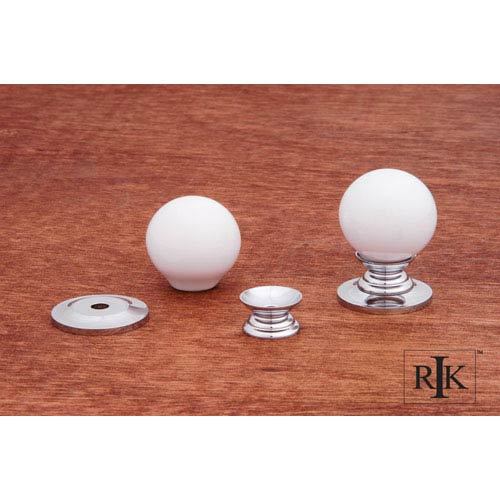 RK International Inc Chrome White Porcelain Chrome Knob