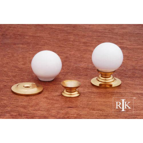 RK International Inc Polished Brass White Porcelain Brass Knob