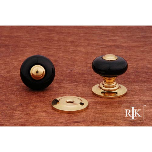 RK International Inc Polished Brass Black Porcelain Knob with Brass Tip