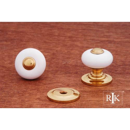 RK International Inc Polished Brass White Porcelain Knob with Brass Tip