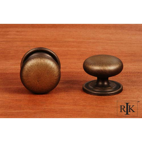 RK International Inc Antique English Solid Plain Knob with Backplate