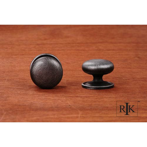 RK International Inc Distressed Nickel Solid Plain Knob with Backplate