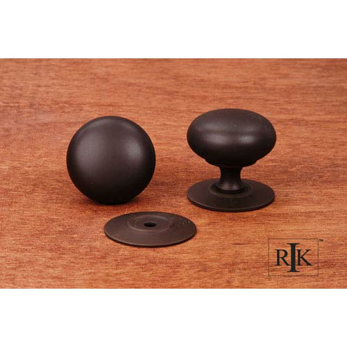 RK International Inc Oil Rubbed Bronze Plain Knob with Detachable Back Plate