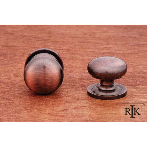 RK International Inc Antique Copper Solid Plain Knob with Backplate