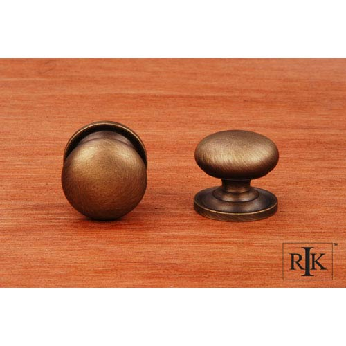 Antique English Solid Plain Knob with Backplate