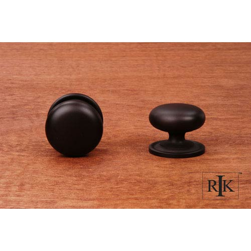 Oil Rubbed Bronze Solid Plain Knob with Backplate