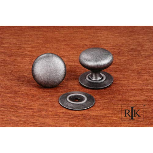 RK International Inc Distressed Nickel Plain Knob with Detachable Back Plate