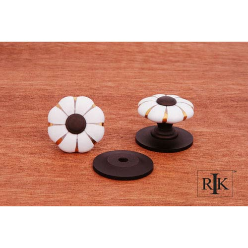 Oil Rubbed Bronze Porcelain Oil Rubbed Tip and Brass Lines Knob