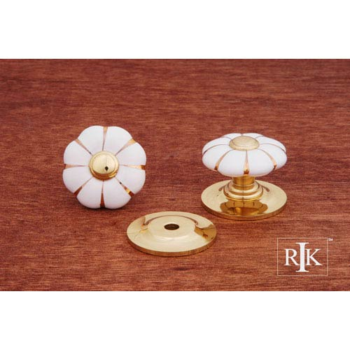 RK International Inc Polished Brass Flowery Knob with Brass Tip and Lines