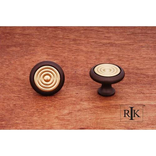 Oil Rubbed and Brass Knob with Riveted Brass Circular Insert