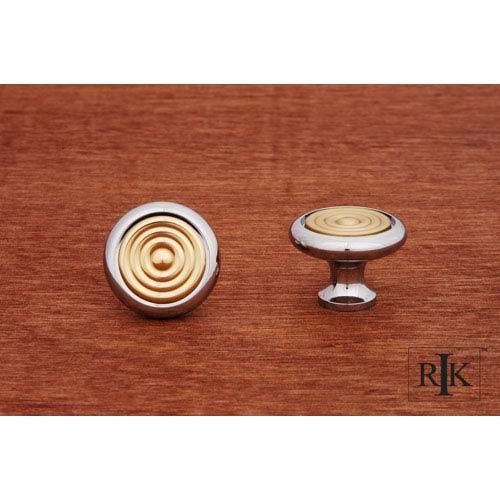 RK International Inc Chrome and Brass Knob with Riveted Brass Circular Insert