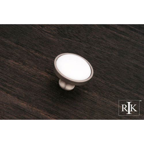 RK International Inc Pewter Porcelain Pewter and White Knob