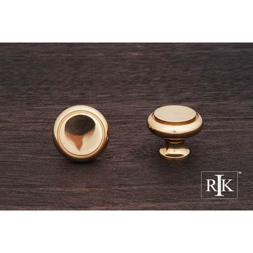 RK International Inc Polished Brass Plain Knob with Flat Brass Insert