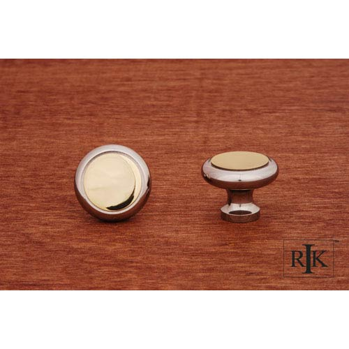 Chrome and Brass Plain Knob with Flat Brass Insert