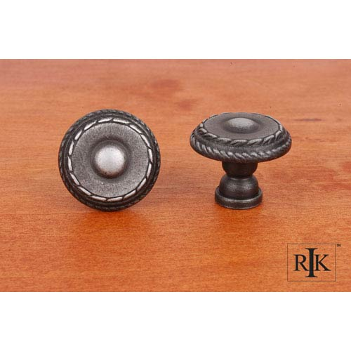 Distressed Nickel Small Double Roped Edge Knob
