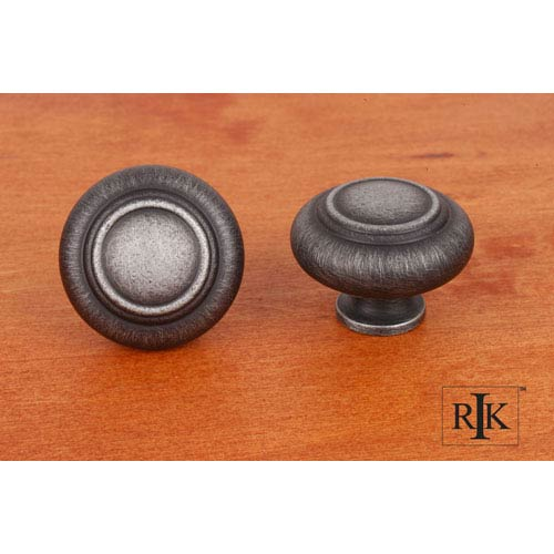 Distressed Nickel Large Double Ringed Knob