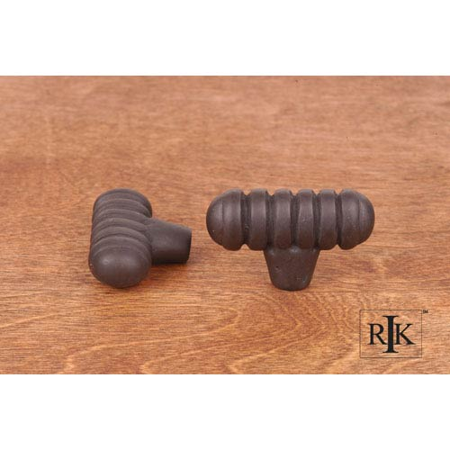 RK International Inc Oil Rubbed Bronze Distressed Large Ribbed Knob