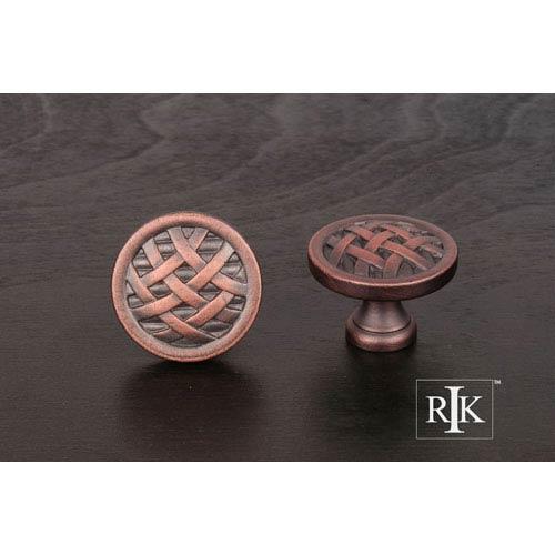 RK International Inc Distressed Copper Large Cross-Hatched Knob