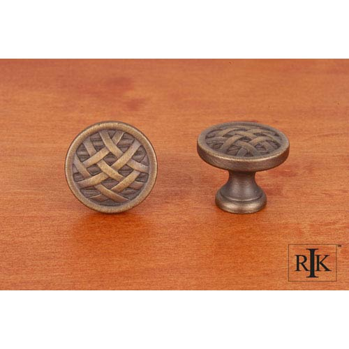 RK International Inc Antique English Small Cross-Hatched Knob