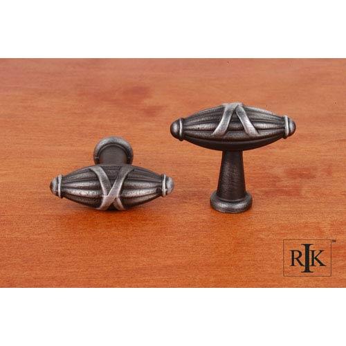 Distressed Nickel Small Crossed Indian Drum Knob