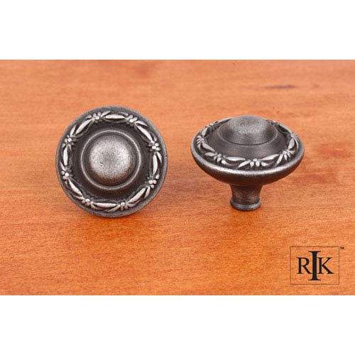 RK International Inc Distressed Nickel Small Deco-Leaf Edge Knob