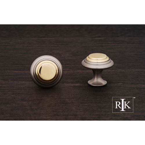 RK International Inc Pewter and Brass Step Up Knob with Brass Middle